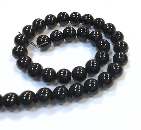 Glass Pearl Beads, Black -8mm