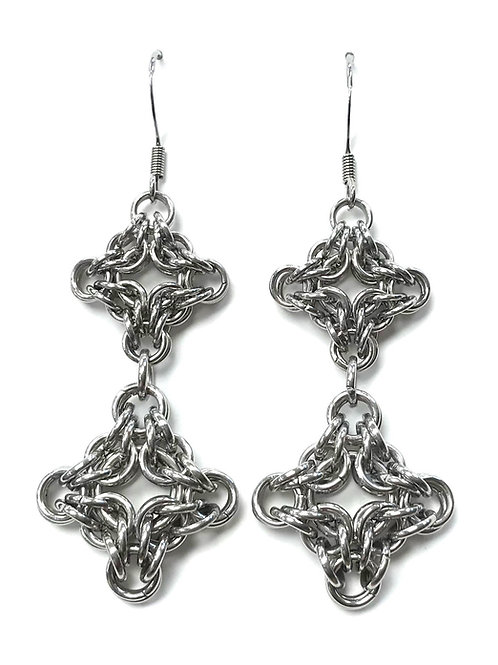 handmade chain maille diamond shape earrings