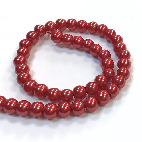 Glass Pearl Beads, Red - 6mm