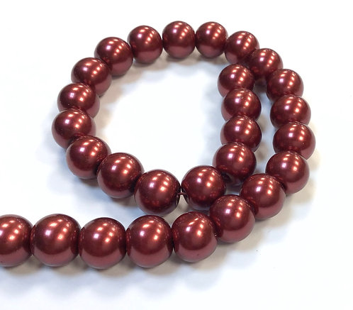 Glass Pearl Beads, Red - 10mm