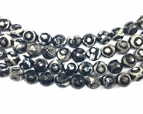 10mm Agate Beads - Black/White
