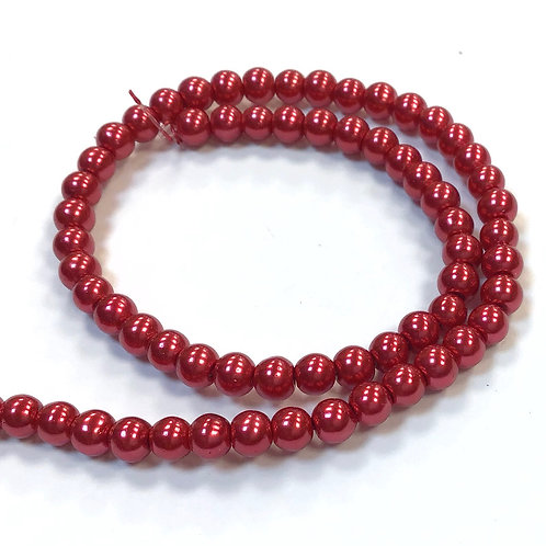 Glass Pearl Beads, Red - 4mm