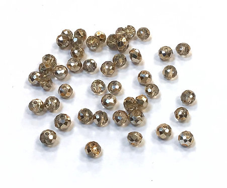 Crystal Glass Rondelle Beads, Champagne Gold - 4mm