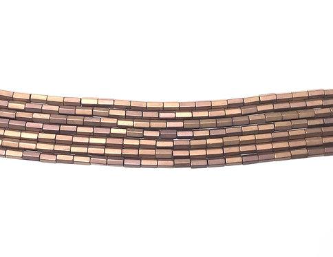 5x3mm Hematite Hexagonal Beads - Matte Copper