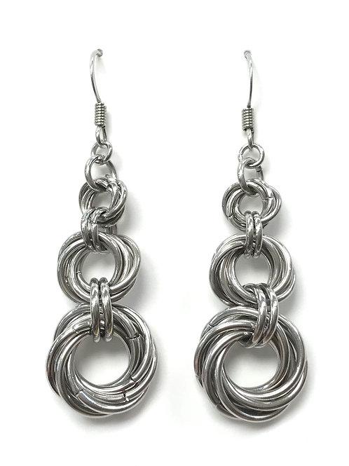 handmade chain maille rose earrings