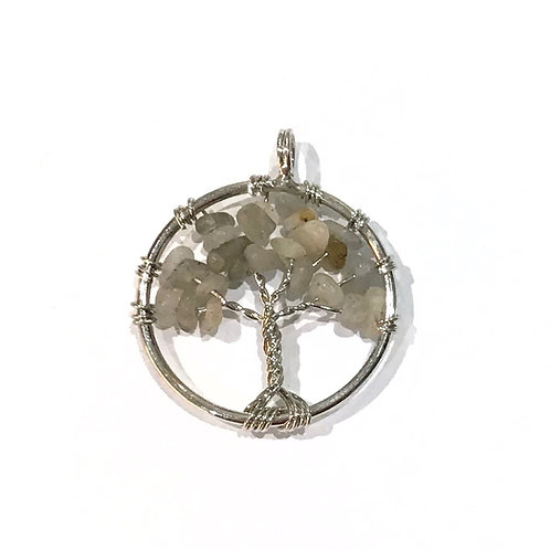 labradorite wire tree pendant