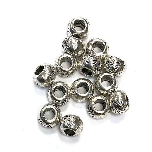 Sun Beads, Silver Tone - Pack of 15