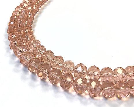 crystal glass pink beads
