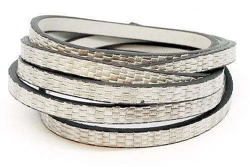 Flat Cord 5 x 2mm - Silver Texture