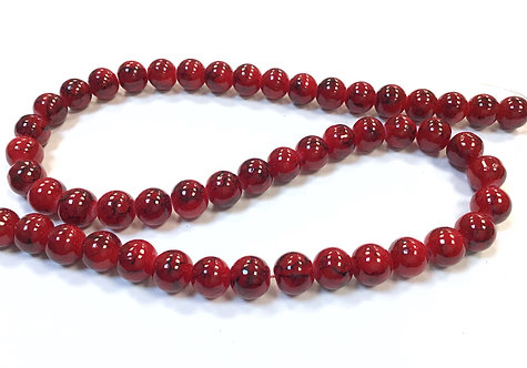 Glass Beads, Red - 8mm