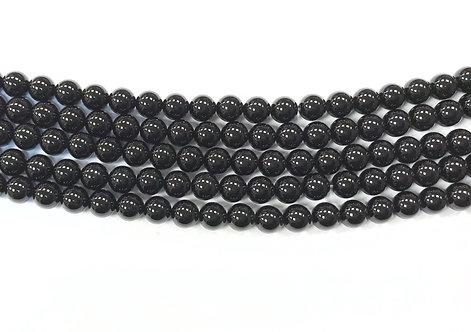 6mm Agate Beads - Black