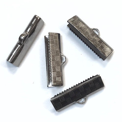 Stainless Steel Ribbon Crimp Ends - 20mm