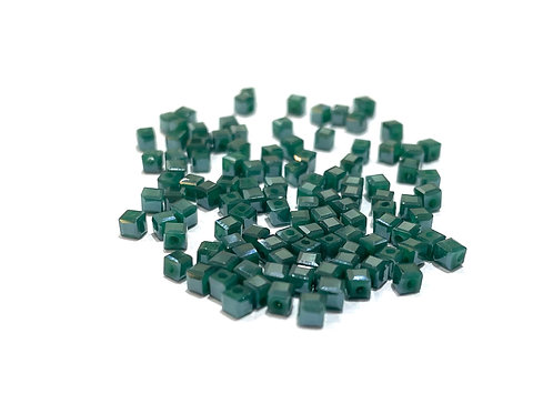 crystal glass cube teal beads 2.5mm