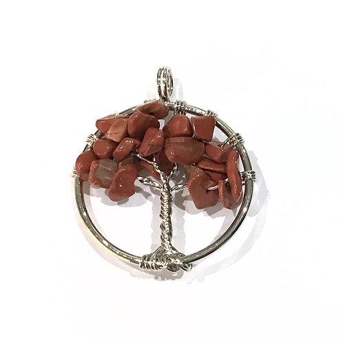 red jasper tree pendant