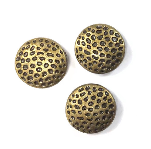 Hammered Beads, Bronze Tone - Pack of 6