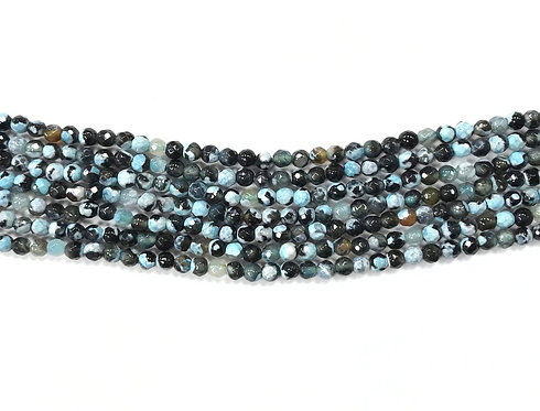 4mm Agate Beads - Turquoise/Black