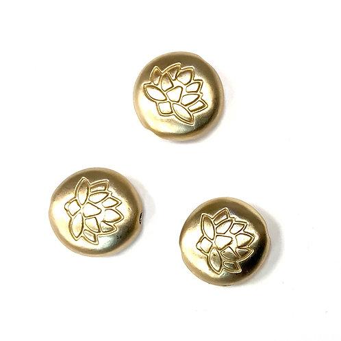 Lotus Beads - Matte Gold Tone 13mm