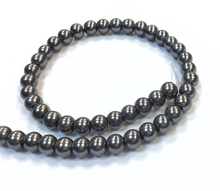Glass Pearl Beads, Grey -6mm