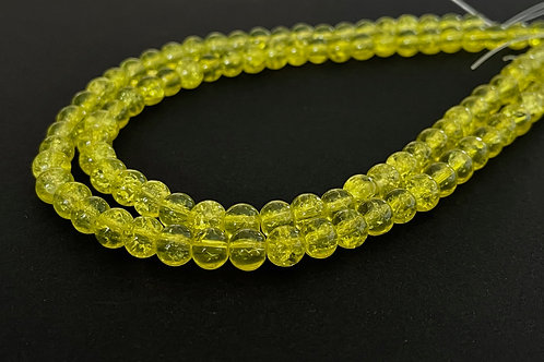 6mm crackle glass beads yellow