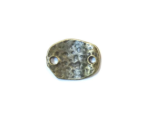Hammered Oval Connector, Bronze Tone