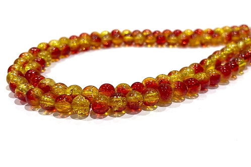 6mm crackle glass beads red/yellow