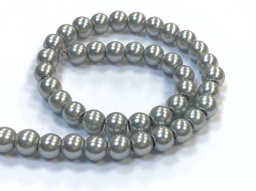Glass Pearl Beads, Light Grey - 6mm