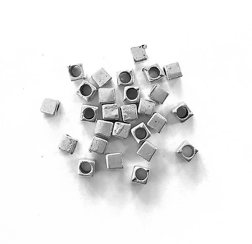 Cube Beads, Silver Tone - Pack of 40