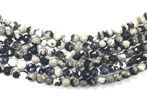 6mm Agate Beads - Black/White