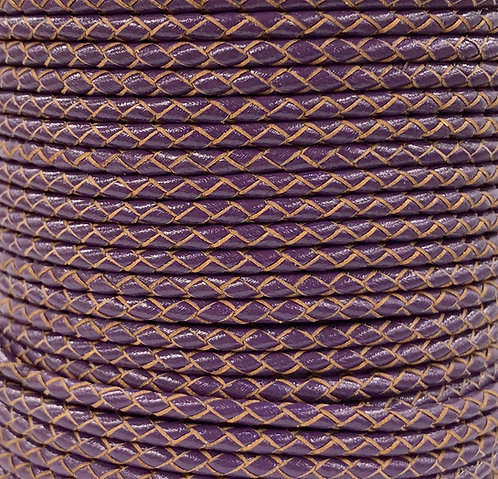 Braided Leather Cord 3mm - Purple