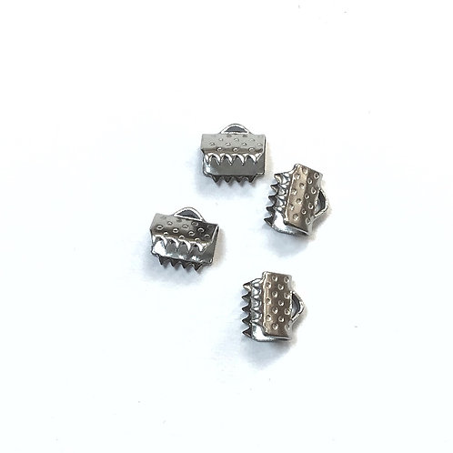 Stainless Steel Ribbon Crimp Ends - 6mm