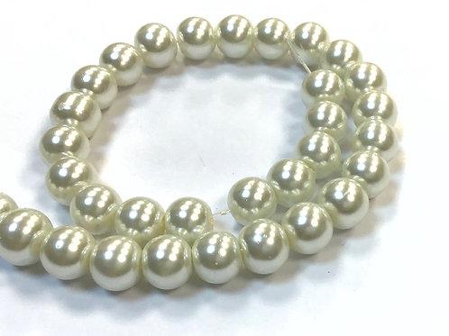 Glass Pearl Beads, Ivory - 8mm