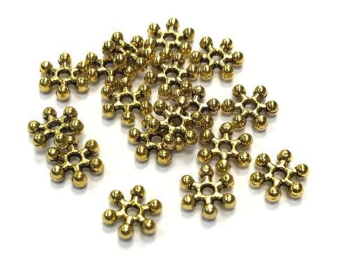 Snowflake Beads - Gold Tone 8x7mm