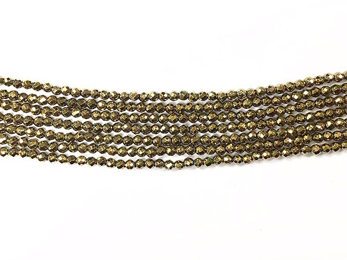 3mm Hematite Faceted Beads - Gold