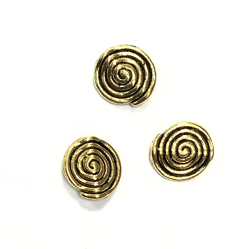 Spiral Beads - Gold Tone 12x11mm