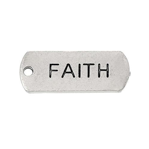 Charm Tag 'Faith' - Silver