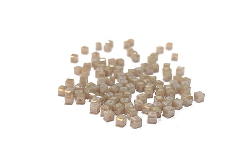crystal glass cube mink beads 2.5mm