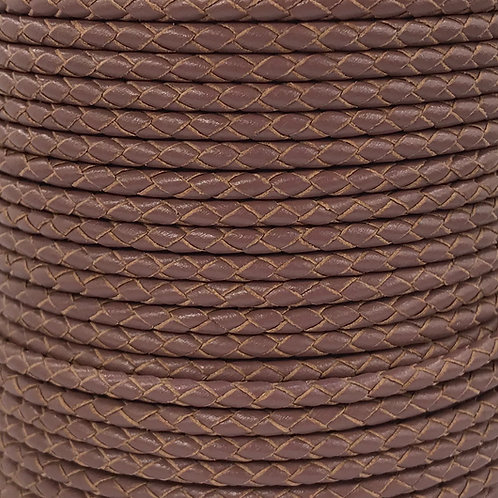 Braided Leather Cord 3mm - Deep Mauve
