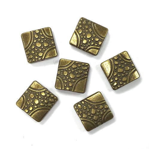 Flat Square Beads, Bronze Tone - Pack of 10
