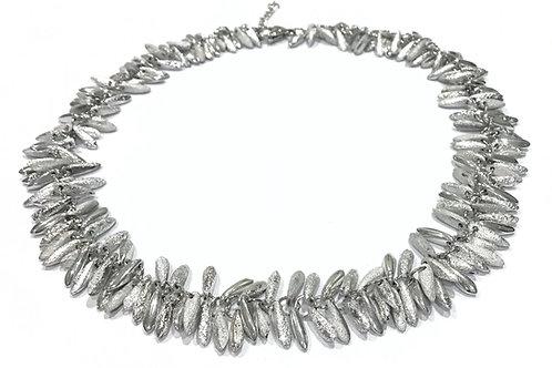 handmade silver beaded necklace