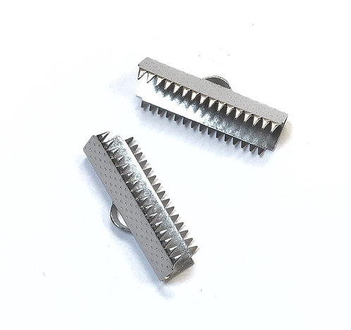 Stainless Steel Ribbon Crimp Ends - 25mm