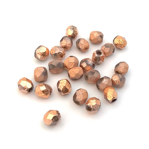 fire polished rose gold beads