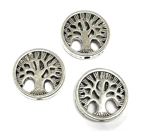 Tree Disc Bead, Silver Tone - Pack of 5