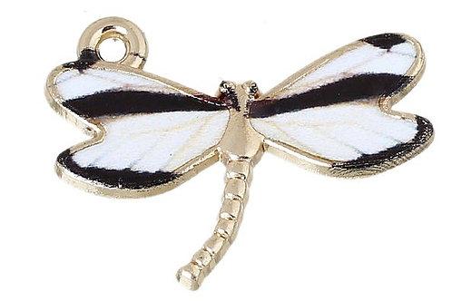 Black/White Dragonfly - Light Gold
