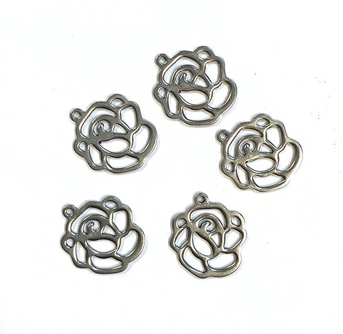 Stainless Steel Rose Connector/Charm