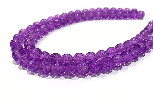 purple crackle glass beads 8mm