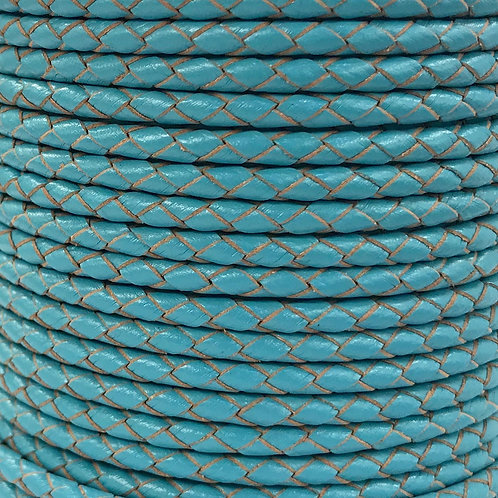 Braided Leather Cord 4mm - Sky Blue