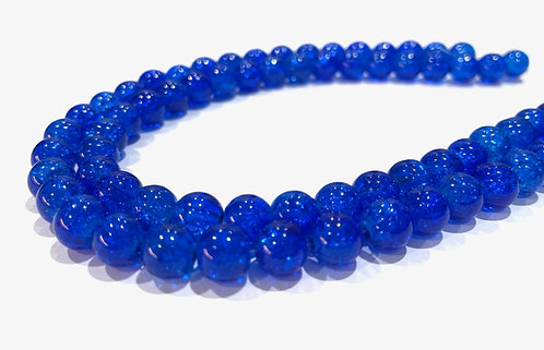 6mm crackle glass beads blue
