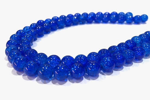 blue crackle glass beads 8mm