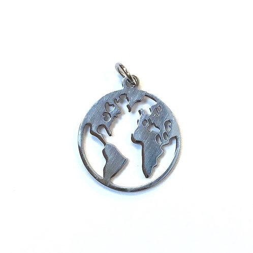 stainless steel pendant world charm