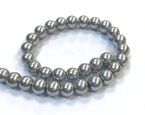 Glass Pearl Beads, Light Grey - 8mm